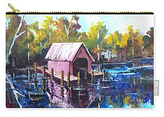 Carry-all Pouch featuring the painting New River Boathouse by Jim Phillips