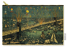 New York And Brooklyn Bridge Opening Night Fireworks Carry-all Pouch by John Stephens