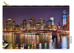 New York City Brooklyn Bridge And Lower Manhattan At Night Nyc Carry-all Pouch