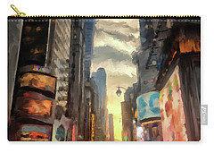 Carry-all Pouch featuring the photograph New York City Lights by Lois Bryan