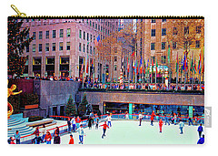 Carry-all Pouch featuring the photograph  New York City Rockefeller Center Ice Rink  by Tom Jelen
