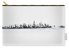 New York City Skyline Black And White Carry-all Pouch