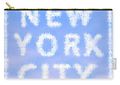 New York City Skywriting Typography Carry-all Pouch by Georgeta Blanaru
