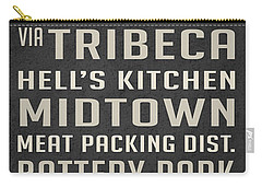 New York City Subway Stops Vintage Carry-all Pouch by Edward Fielding