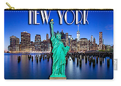 New York Classic Skyline With Statue Of Liberty Carry-all Pouch by Az Jackson