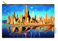 New York Skyline In Blue Orange - Modern Art Carry-all Pouch