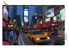 Carry-all Pouch featuring the painting New York Yellow Cab by David Dehner