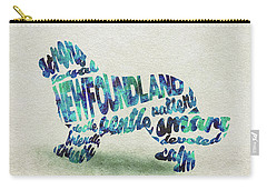 Carry-all Pouch featuring the painting Newfoundland Dog Watercolor Painting / Typographic Art by Ayse and Deniz