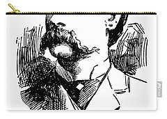 Carry-all Pouch featuring the mixed media Newspaper Image Of Wyatt Earp 1896 by Daniel Hagerman