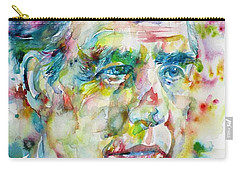 Carry-all Pouch featuring the painting Niels Bohr - Watercolor Portrait by Fabrizio Cassetta