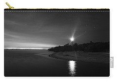 Night At The Sanibel Lighthouse In Black And White Carry-all Pouch