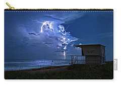 Night Lightning Under Full Moon Over Hobe Sound Beach, Florida Carry-all Pouch by Justin Kelefas
