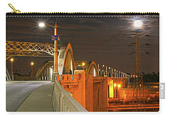 Night Shot Of The Los Angeles 6th Street Bridge And Supermoon #1 Carry-all Pouch
