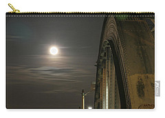 Night Shot Of The Los Angeles 6th Street Bridge And Supermoon #2 Carry-all Pouch