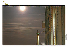 Night Shot Of The Los Angeles 6th Street Bridge And Supermoon #3 Carry-all Pouch