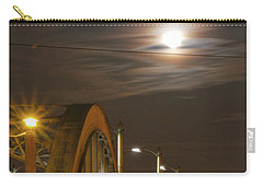 Night Shot Of The Los Angeles 6th Street Bridge And Supermoon #4 Carry-all Pouch