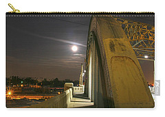 Night Shot Of The Los Angeles 6th Street Bridge And Supermoon #6 Carry-all Pouch