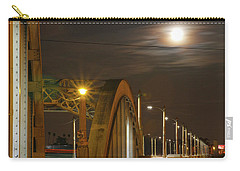 Night Shot Of The Los Angeles 6th Street Bridge And Supermoon #7 Carry-all Pouch