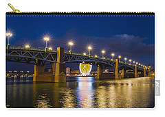 Carry-all Pouch featuring the photograph Night Shot Of The Pont Saint-pierre by Semmick Photo