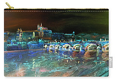 Carry-all Pouch featuring the mixed media Night Sky Over Prague by Elizabeth Lock