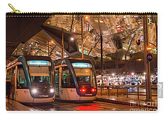 Night View Of Two Trams At Glories Station  Carry-all Pouch