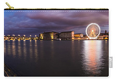 Carry-all Pouch featuring the photograph Nightly Panorama Of The Garonne River And Pont Neuf by Semmick Photo