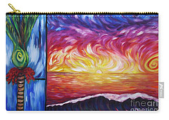 Nikau And Sea Shore Sunset Carry-all Pouch