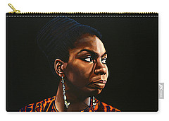 Nina Simone Painting Carry-all Pouch by Paul Meijering