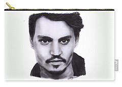 Johnny Depp Drawing By Sofia Furniel Carry-all Pouch by Sofia Furniel