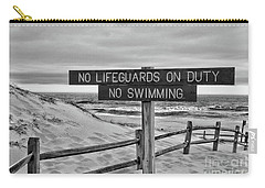 No Lifeguards On Duty Black And White Carry-all Pouch by Paul Ward