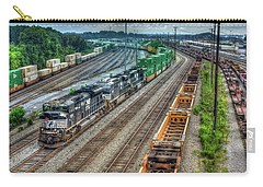 Carry-all Pouch featuring the photograph Norfolk Southern Locomotive #2665 Atlanta Inman Intermodal Yard Art by Reid Callaway