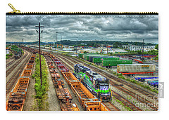 Carry-all Pouch featuring the photograph Norfolk Southern Locomotive 654 Atlanta Inman Yard Intermodal Train Art by Reid Callaway