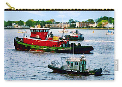 Norfolk Va - Police Boat And Two Tugboats Carry-all Pouch by Susan Savad