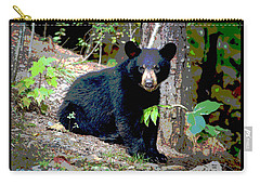Carry-all Pouch featuring the mixed media North American Black Bear by Charles Shoup