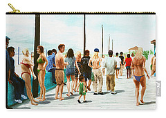 Carry-all Pouch featuring the painting North Carolina Atlantic Beach Boardwalk Digital Art by G Linsenmayer