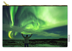 Carry-all Pouch featuring the photograph Northern Light In Western Iceland by Dubi Roman
