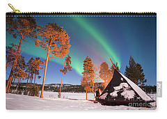 Carry-all Pouch featuring the photograph Northern Lights By The Lake by Delphimages Photo Creations