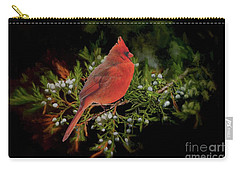 Northern Scarlet Cardinal On White Berries Carry-all Pouch by Janette Boyd
