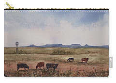 Carry-all Pouch featuring the painting Northwest Oklahoma Cattle Country by Sam Sidders