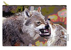 Carry-all Pouch featuring the mixed media Norway Wolf by Charles Shoup