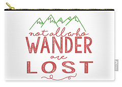 Carry-all Pouch featuring the digital art Not All Who Wander Are Lost In Pink by Heather Applegate