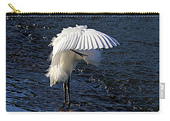 Carry-all Pouch featuring the photograph Not Under Here - Birds - Snowy Egret by HH Photography of Florida