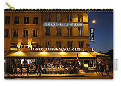 Carry-all Pouch featuring the photograph Notre Dame Cafe by Andrew Fare
