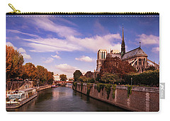 Carry-all Pouch featuring the photograph Notre Dame Cathedral And The River Seine - Paris by Barry O Carroll