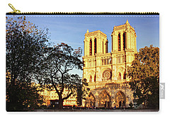 Carry-all Pouch featuring the photograph Notre Dame De Paris Facade by Barry O Carroll
