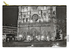 Notre Dame Night Bw Carry-all Pouch