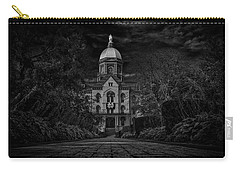 Notre Dame University Golden Dome Bw Carry-all Pouch by David Haskett