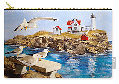 Carry-all Pouch featuring the painting Nubble Light by Alan Lakin