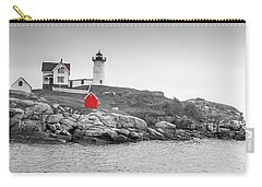 Carry-all Pouch featuring the photograph Nubble Lighthouse In Color And Black And White by Doug Camara
