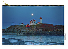 Carry-all Pouch featuring the photograph Nubble Lighthouse Lit For Christmas by Jeff Folger